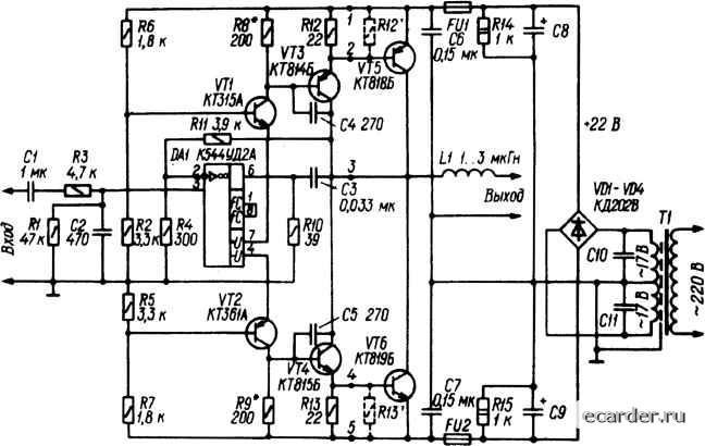 УМЗЧ на современной элементной базе.  Его основные особенности - использование ОУ в малосигнальном режиме.