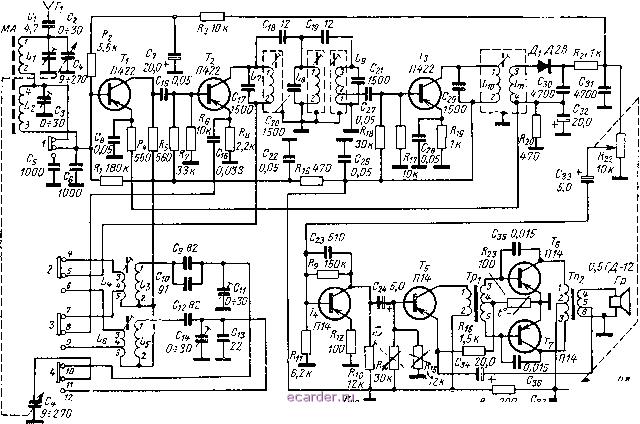 электросхема радиоприемника меридиан